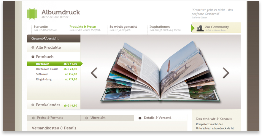 Albumdruck Website Fotobuch