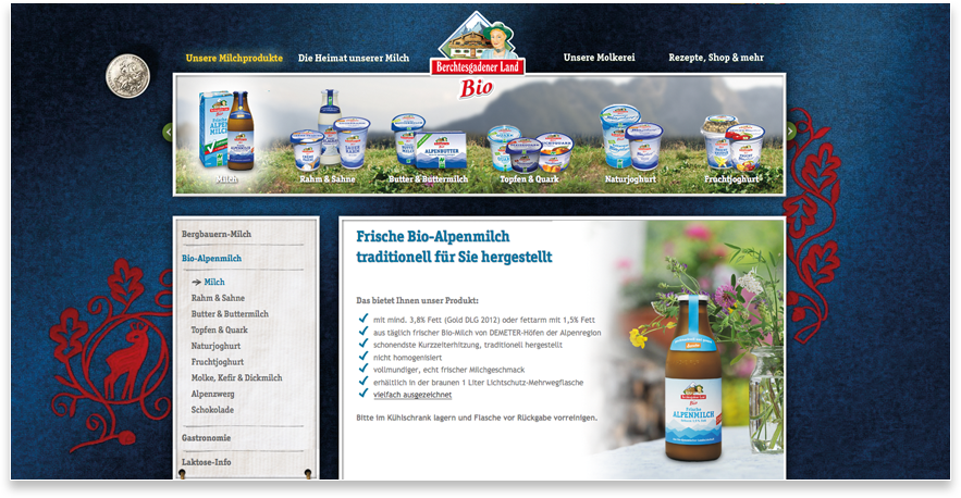 Bio-Bergbauernmilch Website Relaunch
