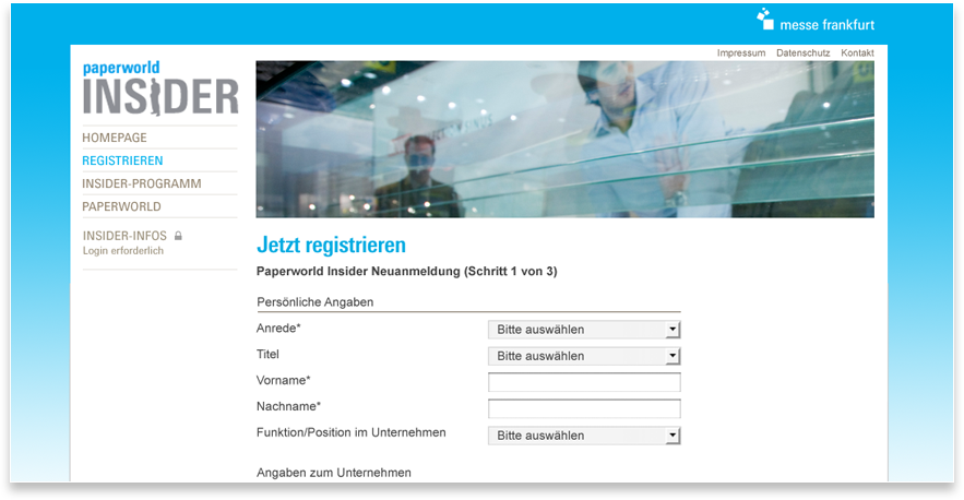 Paperworld Website Registrierung