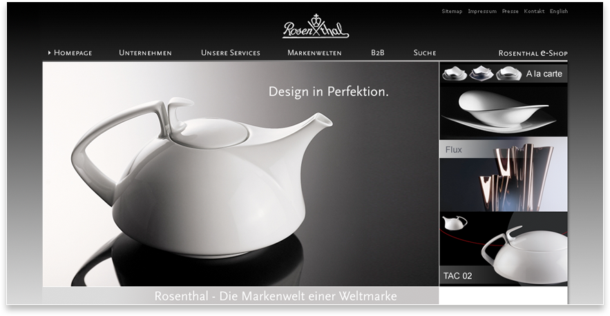 Rosenthal Website Design In Perfektion