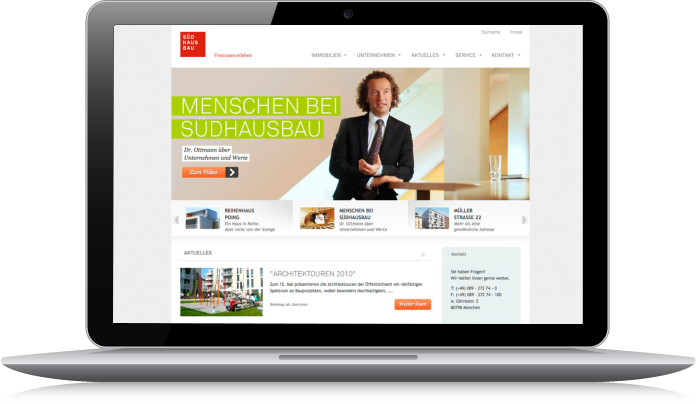 Südhausbau Web Relaunch Desktop Interface