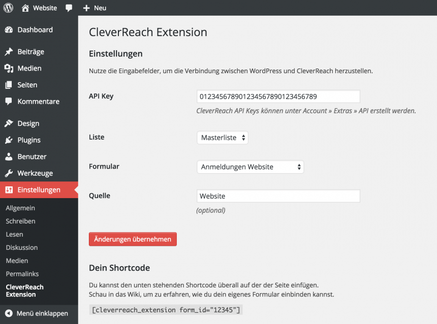 Administration CleverReach WordPress Extension