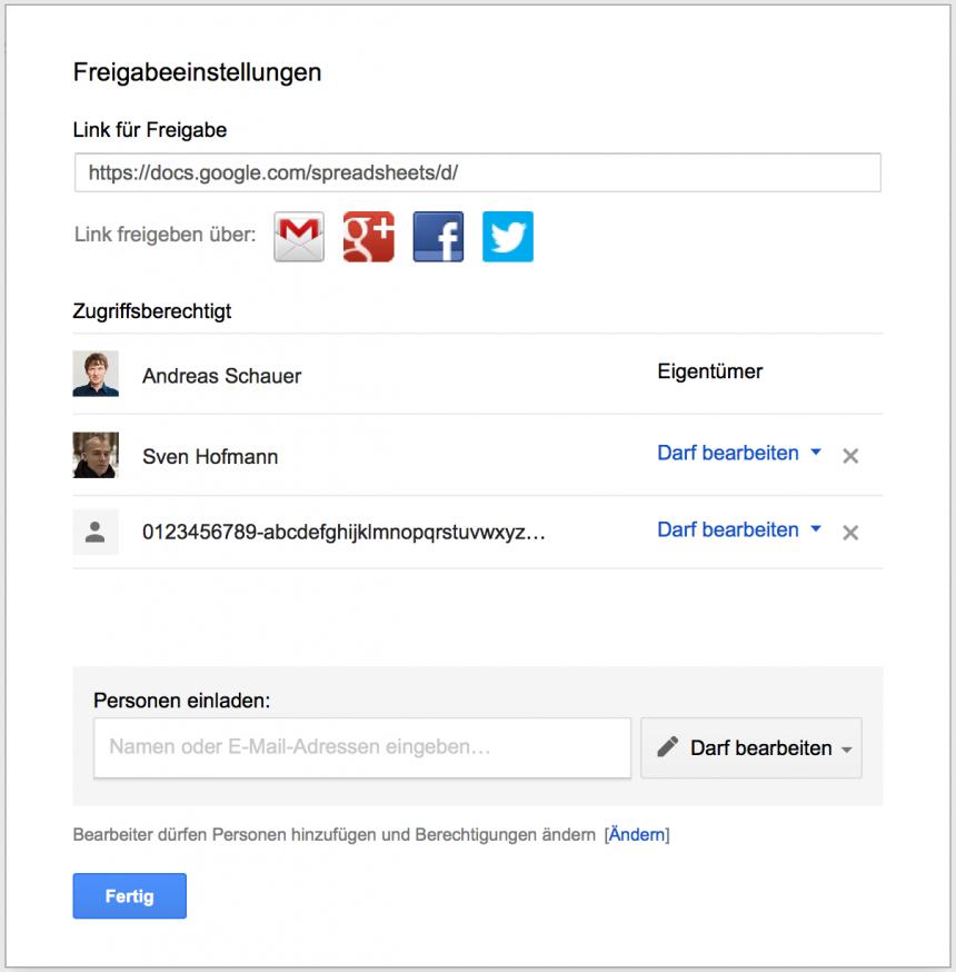 Freigabeeinstellungen für Google Spreadsheet