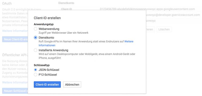 Google Dienstkonto Client-ID erstellen
