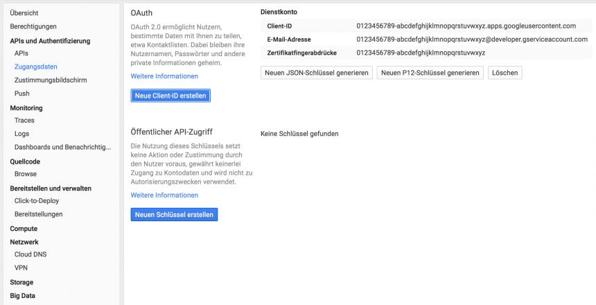 Google Dienstkonto OAuth Zugangsdaten